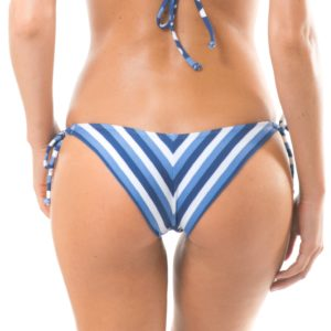 Blau-weiß gestreifte Bikinihose - Calcinha Maresia Cheeky