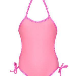 Rosa Baby-badeanzug Mit Gestreiften Rändern - Panterinha