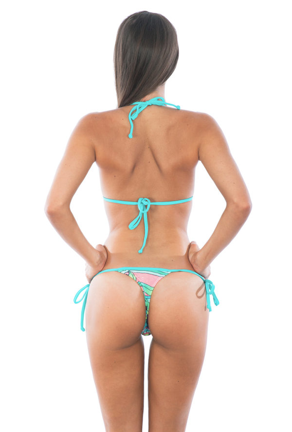 Brasil String Bikini blau-gemustert