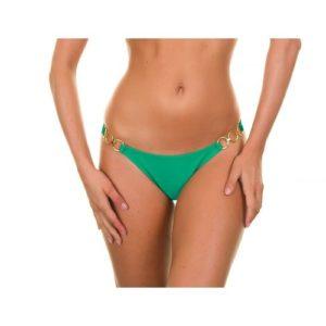 Bikini Höschen grün, mit vergoldeten Schmuckringen - Peterpan Trio