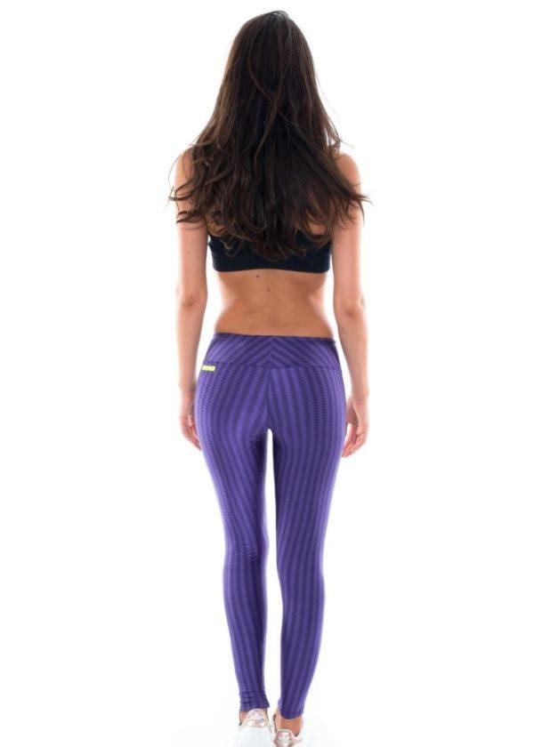 Lila texturierte Lack Fitness Leggings - Leg Oregon Dubai