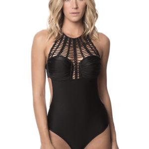 Einteiliger Badeanzug schwarz mit Makramee Kragen - Black Glam