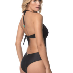 Einteiliger Badeanzug schwarz mit Makrameekragen - DESPI