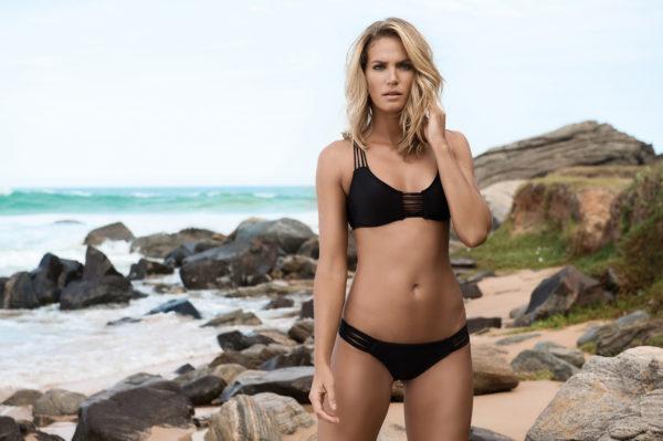 Bustier Strappy Bikini schwarz, Schwimmerrücken - Black Sun Seeker