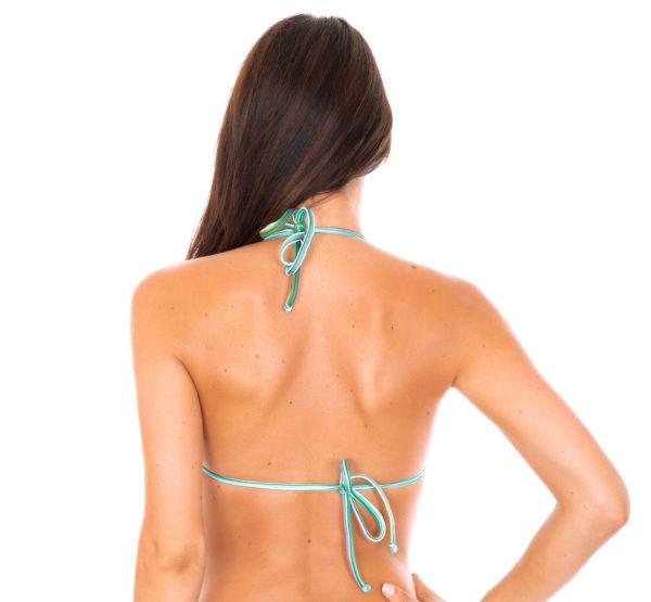 Rückansicht Grün geblümtes Triangel Bikinioberteil - Soutien Margaridas