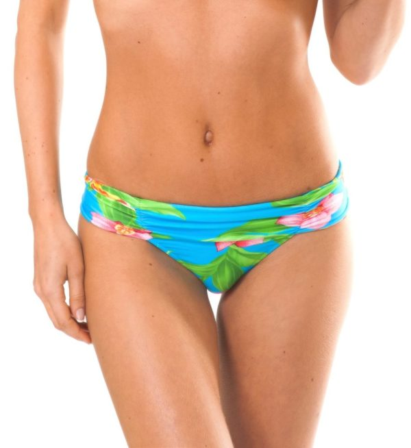 Tropisch geblümtes Bikinihöschen, breite Seiten - Calcinha Aloha Cropped Faixa