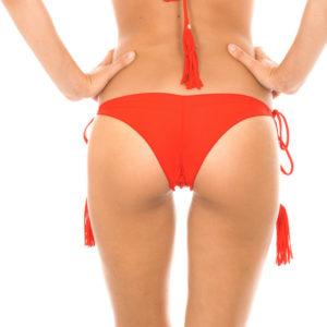 Sexy Brasil Tanga rot, scrunch mit gefranste Pompons - Rio de Sol