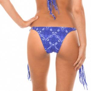 Brasilianisches Bikinihöschen mit Fransen, Jeansblau - Calcinha Bluejean Boho