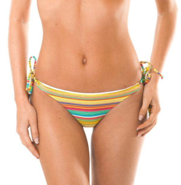 Gelbgestreiftes Bikinihöschen mit Seitenschnüren - Calcinha Canarinho Cheeky