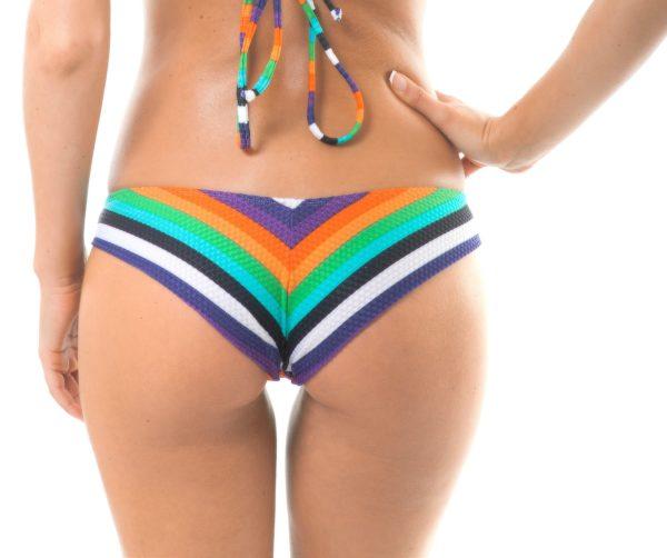 Buntgestreifte und texturierte Brasil Bikinihose