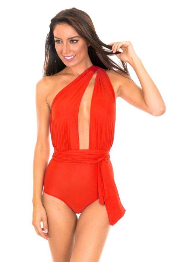 Roter einteiliger Badeanzug mit tiefem Dekolleté - Vegas Urucum