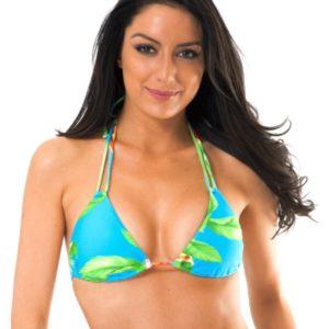 Blaugeblümtes Bikini Triangel Oberteil mit Doppelträger - Soutien Aloha Tri Cheeky