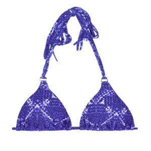 Sexy Triangle Bikini-Top, Jeansblau mit Langen Fransen - Rio de Sol