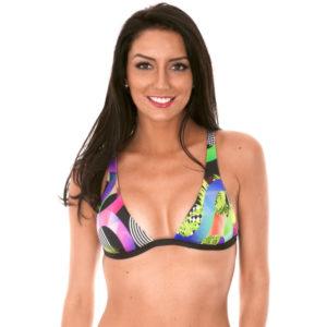 Gemustertes Triangel Bikinioberteil mit Foulard-Druck - Soutien Bossa Black