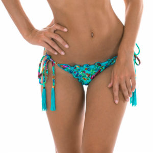 Geblümte Scrunch-Bikinihose mit gewellten Rändern - Calcinha Bloom Frufru