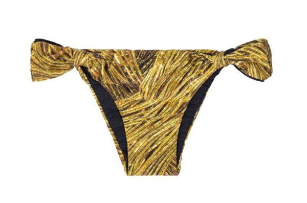 Sexy Bikinislip mit Stoffringen, gold gemustert - Rio de Sol