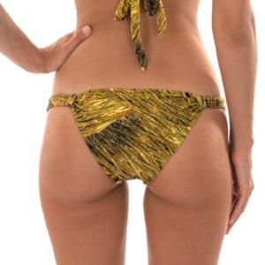 Sexy Bikinislip mit Stoffringen, gold gemustert - Calcinha Cortinao Reluzente
