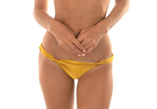 Goldene verstellbare Bikinihose mit Stoffringe - Calcinha Gold Cortinao