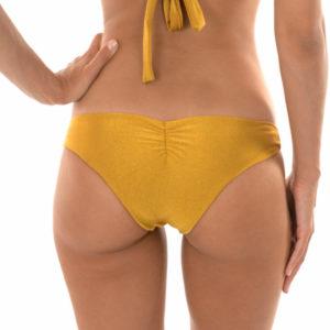 Goldene verstellbare brasilianische Bikinihose mit Stoffringe - Rio de Sol