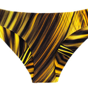 Sportliche brasilianische Bikinihose gelb-schwarze Musterung - Calcinha Mlonga Luxor