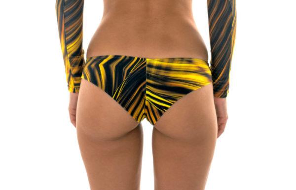 Sportliche brasilianische Bikinihose gelb-schwarze Musterung - Rio de Sol