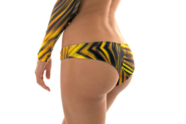 Gelbe Brasilianische Bikinihose, Grafikmuster - Calcinha Mlonga Luxor