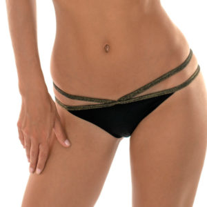 Schwarze Strappy Bikinihose Lurex - Calcinha Radiante Cropped Neck