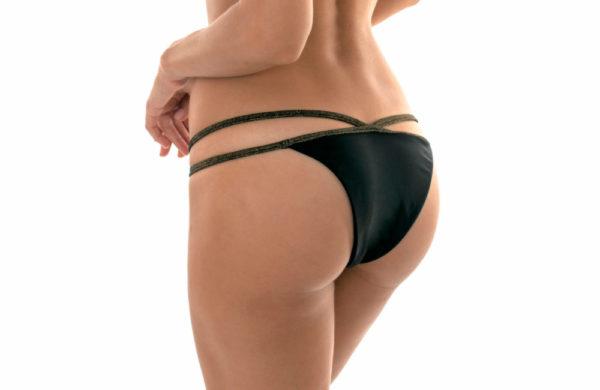 Sexy Strappy Bikinihose Lurex schwarz - Calcinha Radiante Cropped Neck