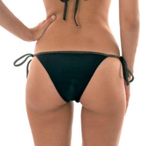 Schwarzes brasilianisches Bikinihöschen Lurex - Calcinha Radiante Preto Lacinho
