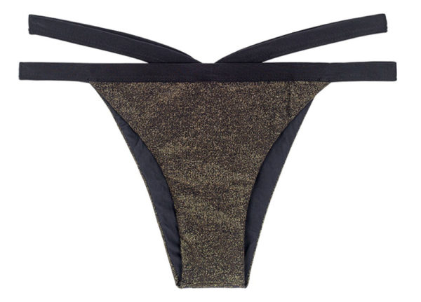 Schwarze Lurex Bikinihose mit Doppelschnüren - Rio de Sol