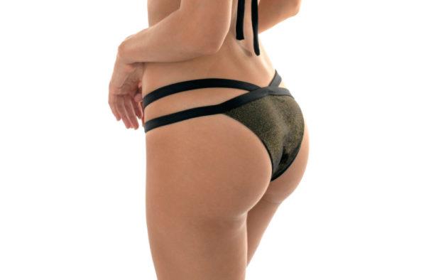 Schwarze Lurex Bikinihose mit Doppelschnüren SEXY - Rio de Sol