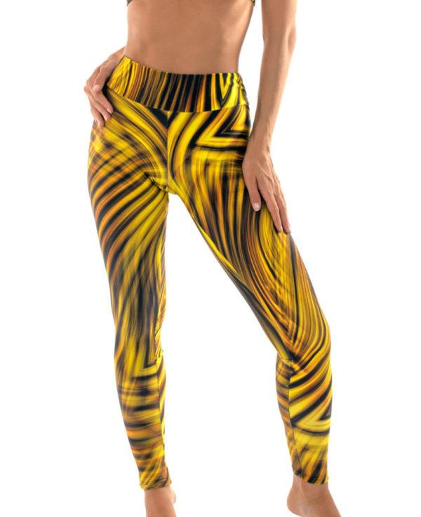 Gemusterte Fitness-Leggings gelb-schwarz - Leg Beach Luxor
