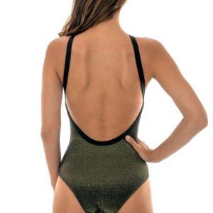 Glänzend schwarzer Lurex-Badeanzug - High Neck Radiante