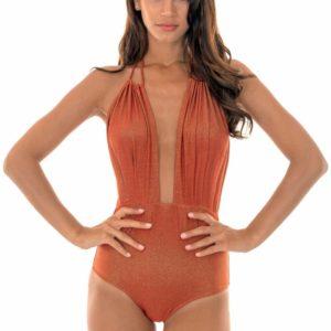 Einteiliger ausgeschnittener Badeanzug kupfer - Radiante Canela Decote Profundo