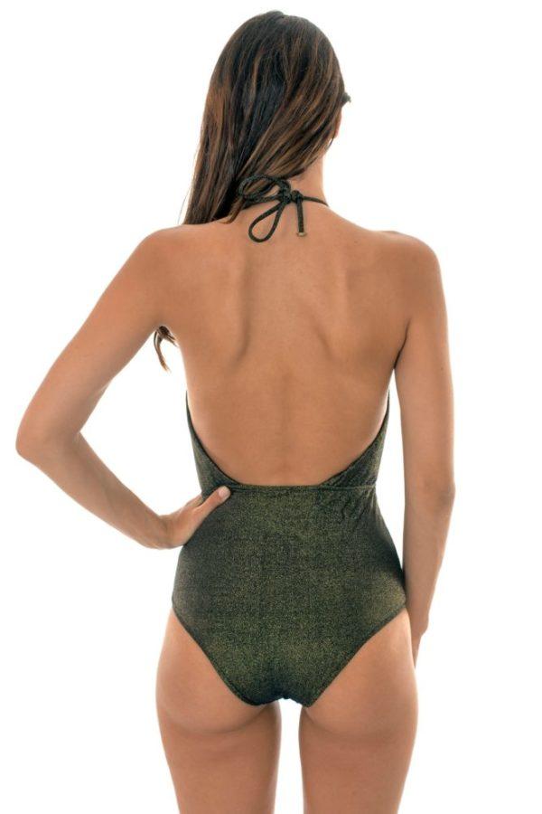 Einteiliger ausgeschnittener Badeanzug schwarz – Radiante Canela Decote Profundo