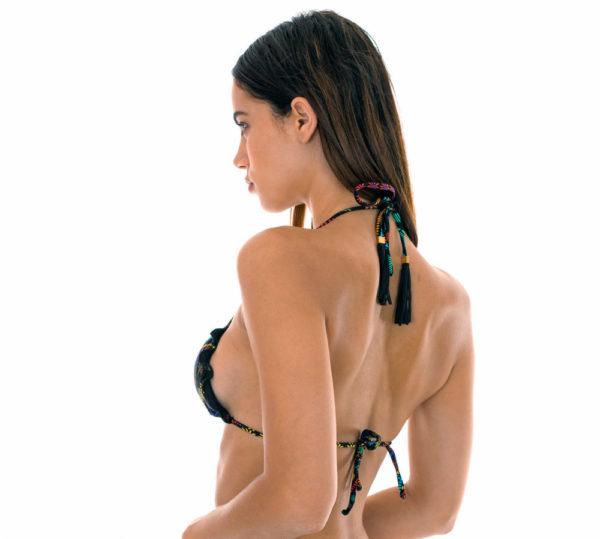 Sexy Bikini Triangel Top mit Motiven und gewellten Rändern