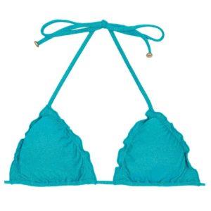 Sexy himmelblauer Lurex Triangel-Bikini mit gewelltem Rand – Rio de Sol