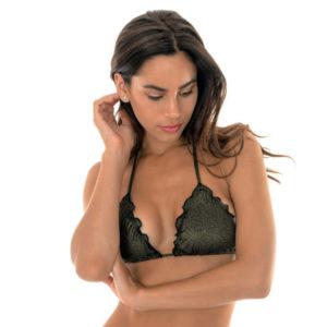 Schwarzer Lurex Triangel Bikini mit gewellten Rändern - Soutien Radiante Preto Frufru