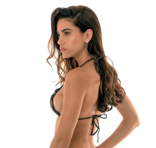 Schwarzer Lurex Triangel Bikini mit gewellten Rändern SEXY