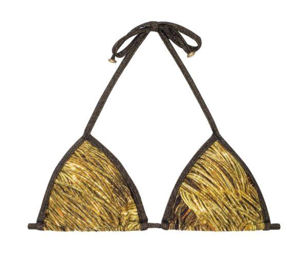 Goldgemustertes Bikini Triangel Top mit Lurexschnüren - Rio de Sol
