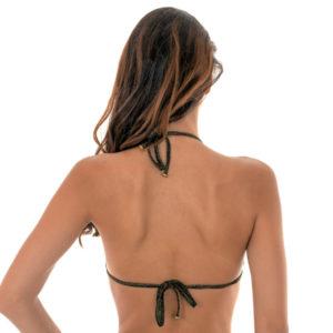Goldgemustertes Bikini Triangel Top mit Lurexschnüren - Soutien Reluzente Lacinho
