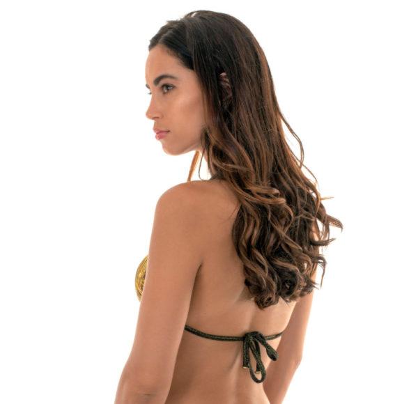 Sexy goldgemustertes Bikini Triangel Top mit Lurexschnüren - Rio de Sol