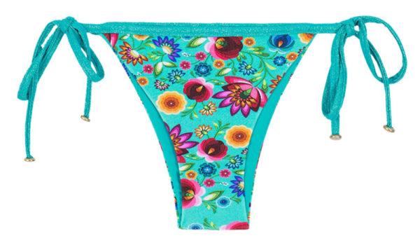 Geblümter Bikinislip mit Lurex Seitenschnüren - Rio de Sol