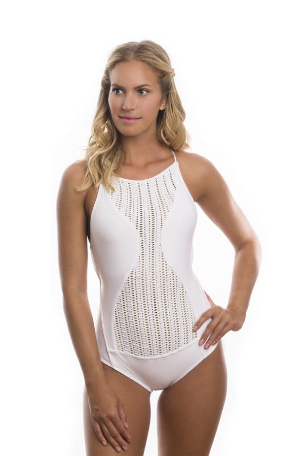 Weißer Brasil Badeanzug mit Lochoptik - New Dazzling White