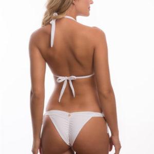 Weißer Triangel Bikini, Nackenträger mit grünen Steinen - DESPI
