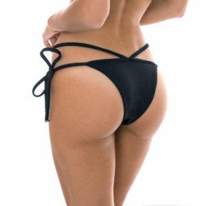 Texturierte Strappy Bikinihose, mit Seitenschnüre schwarz - Rio de Sol