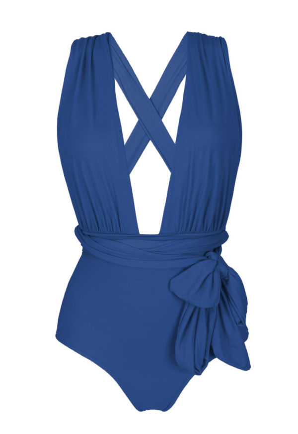 Jeans blauer Multipositions Badeanzug - Rio de Sol
