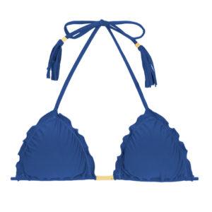 Jeans blaues Triangel-Top mit Fransen - Rio de Sol