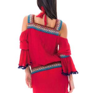 Rotes Strandkleid mit Makrameebesatz, Bohemestil - Knitted Red