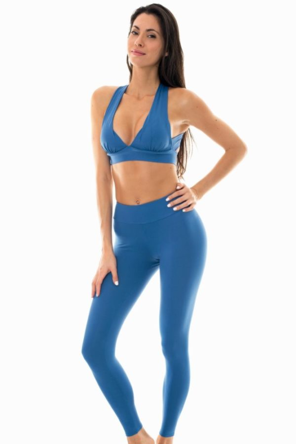 Uni Denimblaue Fitness-Legging